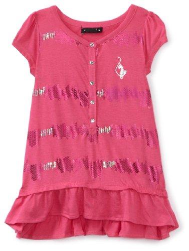 Baby Phat Big Girls' Sequin Stripe Tee, Pink, Large