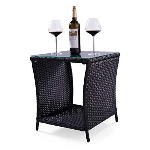 JAXPETY Black Wicker Rattan Side Tea Table with Glass Top Patio Pool Garden Furniture For Sale