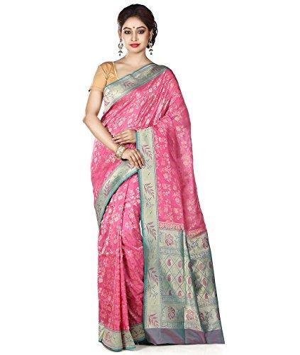 Maahir Garments Exclusive Indian Ethnicwear Pink coloured Pure Banarasi Georgette Handloom Saree by Maahir Garments