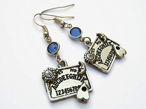 Ouija Board Birthstone Earrings, Personalized Occult Earrings, Paranormal Jewelry, Supernatural Planchette Charm -