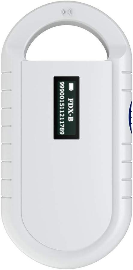 Zerone Escáner microchips para Animales Domésticos, Reproductor de Chip Universal Manual para Animales Soporte para Reproductores de RFID portátiles para ISO 11784/11785, fdx-b y ID64RFID