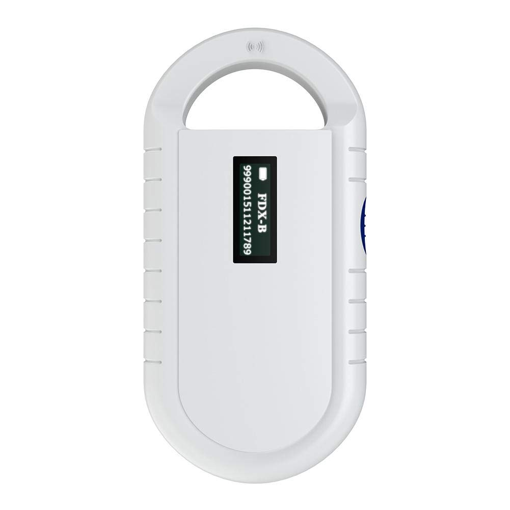 Tosuny Pet Microchip Scanner, Pet RFID Reader Ortable Handheld Animal Chip Reader Working Time5 Hours for Read All 134.2KHz FDX-B Tags, Supports for ISO 11784/11785, FDX-B and ID64 RFID (White)