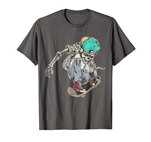 Skeleton pulling an Ollie on his Skateboard T-Shirt