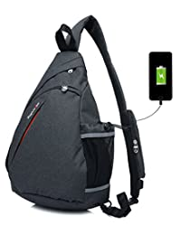 Sling Bag Travel Backpack Wear Over Shoulder or Crossbody Reflection Straps for Hiking,Cycling Black