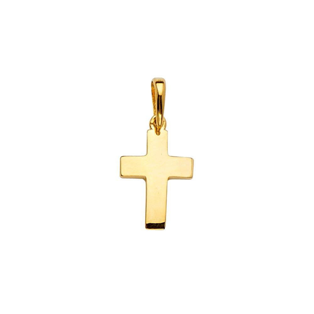 Wellingsale 14k Yellow Gold Cross Religious Pendant Size : 20 x 10 mm