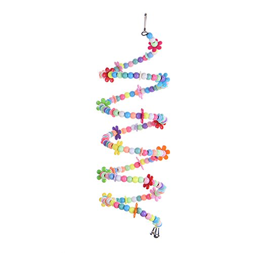 Bird Chewing Toy Spiral Perch Pet Parrot Birds Play Climbing Standing Toys Colorful Bead Design Chewing Swing Freely (78.74inch) by Peety