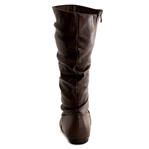 Generation19 Womens Mid Calf 13 Inch Faux Leather Boots (Adults) Brown UnzUy1Gl