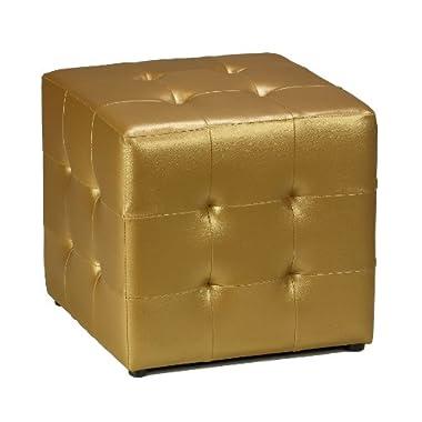 Cortesi Home Apollo Cube Ottoman, Metallic Gold