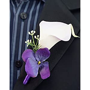 Angel Isabella Boutonniere - Calla Lily with Purple Hydrangea 72