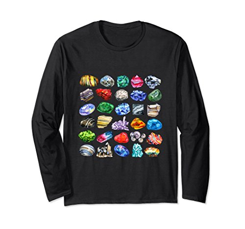 Unisex Gems and Crystals T-Shirt Long Sleeve Rock Collecting Tee Small Black ()