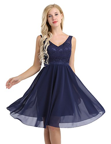 - YiZYiF Women's Lace Chiffon A-Line Prom Formal Wedding Bridesmaid Short Mini Dress Navy Blue 10