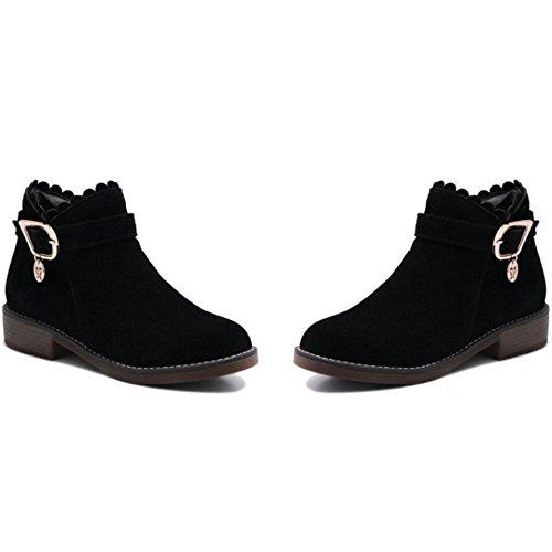 caviglia fibbia Black Donna RAZAMAZA stivaletti cerniera bassi tacco xwtxqXp