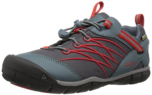 KEEN Chandler CNX WP Hiking Shoe, Stormy Weather/Fiery Red, 6 M US by KEEN