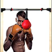 Punching Bags for Kids Adults Trainer, Ceiling Mount Speed Boxing Ball with Chin Up Bar Adjustable, Red Relief
