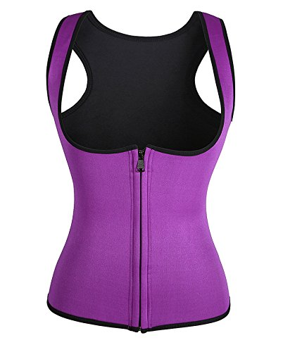 4 Color Neoprene Sweat Sauna Hot Body Shaper Fat Burner Tank Top Yoga Vest (XXX-Large, Purple)