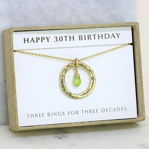Amazon 30th Birthday Gift For Daughter Gold Peridot Necklace