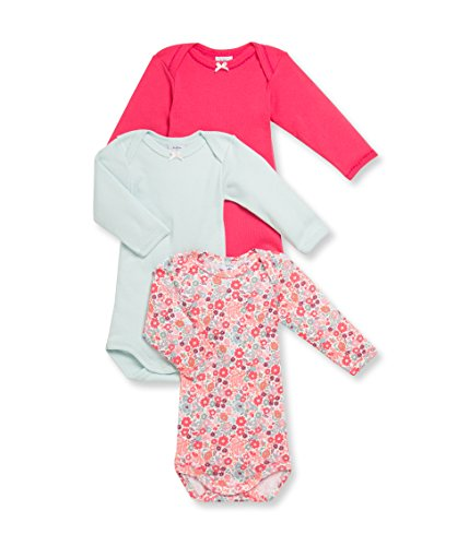 (Petit Bateau Baby Girls L/S Onesie-Bodysuit Solid and Print Three PK. Style 15364 Sizes 1/12 Months (Size 1 Months Style 15364))