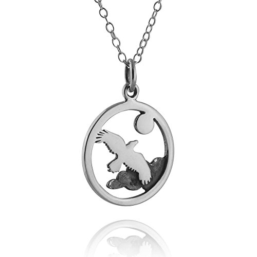 FashionJunkie4Life Sterling Silver Soaring Bird Charm Necklace, 18