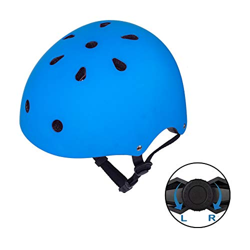 (GIORO Skateboard Helmet Impact Resistance Safe Helmet Multi Sport for Bike, Skates, Skateboards & Scooter Certified CPSC Adult&Kids Adjustable Dial Helmet with Multiple Colors&Sizes (Blue, Small))