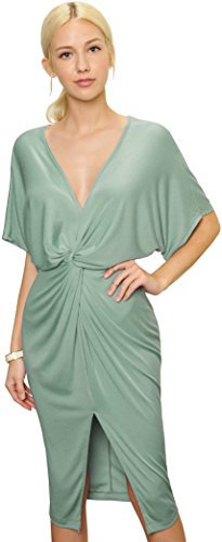 Silk Dress (Trend Director Women's Draped Knotted Front Slit V Neck Stretchy Midi Dress in Mint, Mauve and Black Colors (Small, Mint))