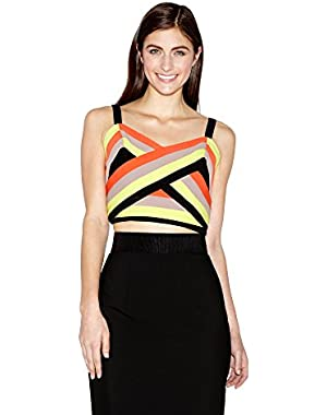 Women's Italian Cady Colorblock Bustier, Multi