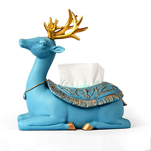 European Creative Tissue Box Paper Towel Holder Exquisite Resin Deer Decorative Ornaments Individuality Napkin Holder Book Box for Coffee Table Living Room Dining Room ()