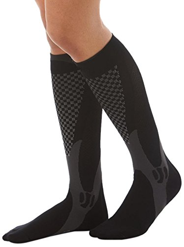 Remedy Health Unisex 10 Point Graduated Compression Therapy Socks, Grey/White (Therapy Graduated)