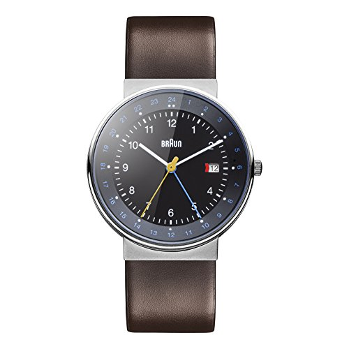 Braun Men's BN0142BKBRG GMT World Timer Analog Display Swiss Quartz Brown Watch