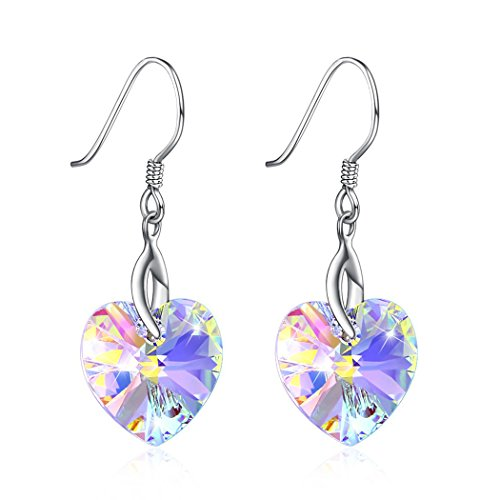LEKANI S925 Sterling Silver Colorful Heart-Shaped Crystals from Swarovski Earrings