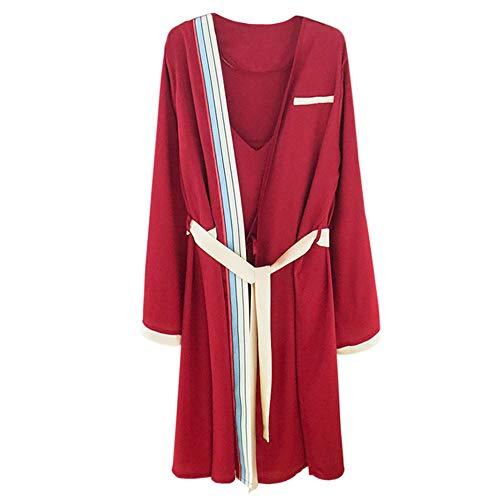 Seda Mujer Nightgown Mmllse Manga Camisero Para Dos Piezas Red Sexy Conjunto De Larga 8Sq8vP