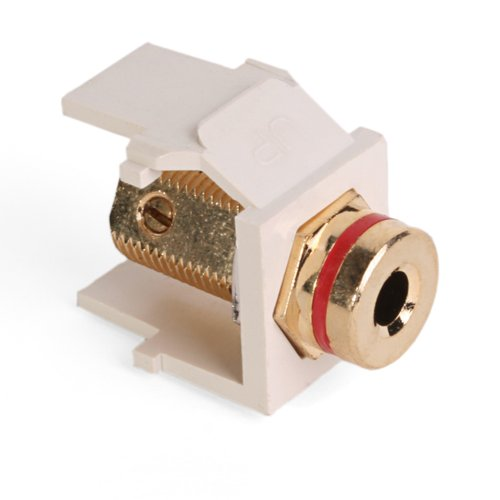 - Leviton 40837-BTR QuickPort Banana Jack Adapter, Gold-Plated with Red Stripe, Light Almond
