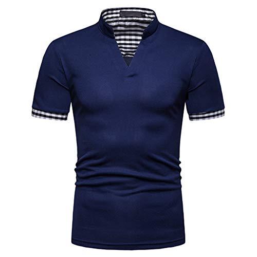 Hosamtel Men Henley T-Shirt Short Sleeve V-Neck Solid Stripe Cotton Fashion Casual Sport Workout Fitness Slim Fit Tops Navy
