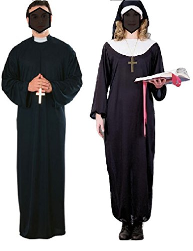 Halloween 2017 Couples Costume Ideas - Priest And Nun Couples Costume Halloween Religious Catholic Adult Standard Size