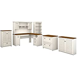 Bush Furniture Fairview 60W L Shaped Desk with Hutch, Bookcase, Storage and File Cabinets in Antique White and Tea Maple