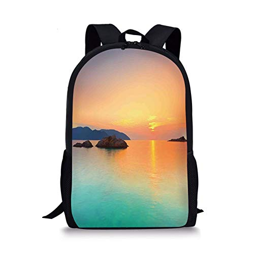 School Bags Seaside Decor,Magical Sunrise over the Sea in Con Dao Vietnam Colorful Sky Reflection on Sea Horizon, for Boys&Girls Mens Sport Daypack -