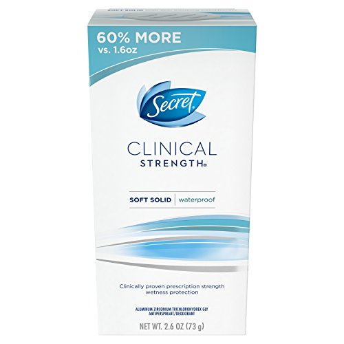 Secret Antiperspirant and Deodorant for Women, Clinical Strength Soft Solid, Waterproof, 2.6 Oz