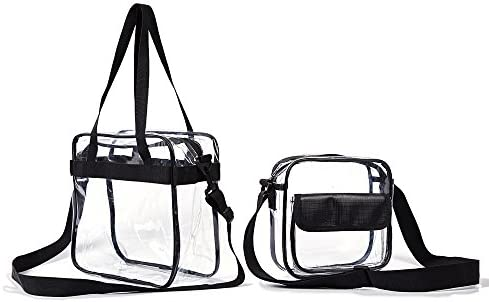 848038e01879 Clear Cross Body Messenger Tote Shoulder Zippered Bag (8x8x3)+ See Through  Tote w Adjustable Strap(12x2x6) NFL   PGA   NHL Stadium Approved Vinyl Purse