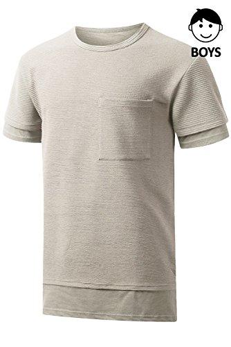 JC DISTRO Boys Hipster Hip Hop Embossing Layer T-Shirt with Side Slit WARMKHAKI Medium by JC DISTRO