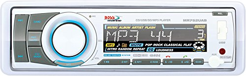 BOSS Audio MR752UAB Single Din, Bluetooth, CD / MP3 / USB / SD AM/FM Weather-Proof Marine Stereo, Detachable Front Panel, Wireless Remote