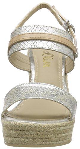 s.Oliver 28329, Women's Wedge Heel Platform Sandals Silver - Silber (Platinum 921)