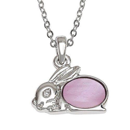 BellaMira Abalone - Hare (Rabbit) & Tortoise - Silver Plated Necklace Exotic Jewellery Inlaid with Natural Genuine Paua Shell Gift Boxed (Rabbit (Pink Mother of (Rabbit Plated Necklace)