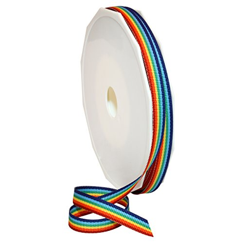 (Morex Ribbon Polyester Grosgrain Striped Decorative Ribbon, Rainbow, 3/8 in )