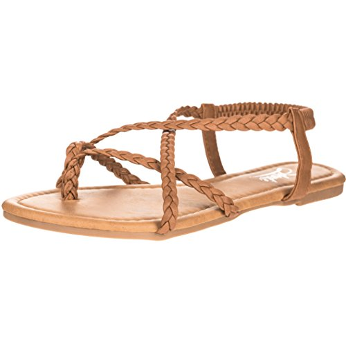 Solemate Women's Braided Strap Thong Flip Flop Flat Sandals (9 B(M) US, Tan)