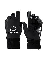 Finger Ten Junior Boys Girls Running School Warm Touchscreen 3M Winter Gloves Value Pack 1 Pair Set (Medium, Black)