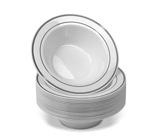 50 Disposable White Silver Trim Plastic Dessert Bowls | SMALL 6 oz. Premium Heavy Duty Disposable Dinnerware with Real China Design | Safe & Reusable and Great for Parties (50-Pack) by Bloomingoods
