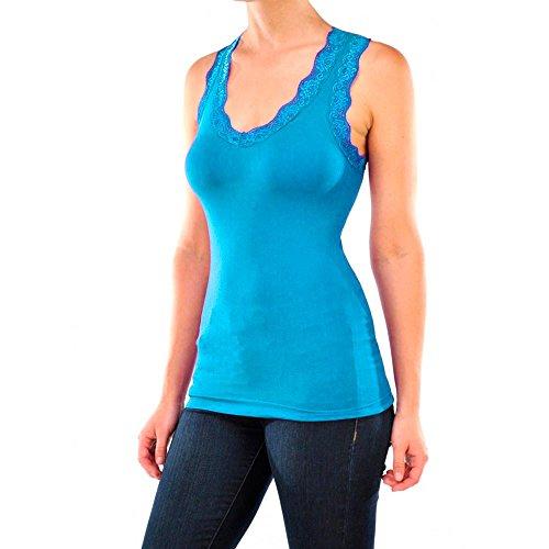Atb Trim - Seamless Stretch Sexy Lace Trim Racerback Basic Tank Top Camisole Cami Blue