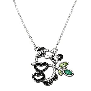 Falari Panda Pendant Necklace Rhinestone Crystal Rhodium High Polished