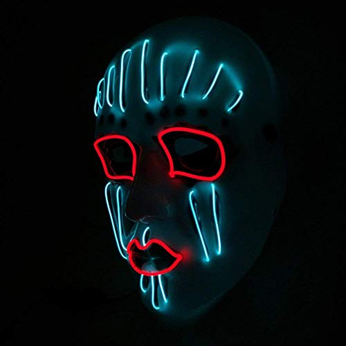Party Halloween Mask Cosplay LED Wired Neon Luminous Glowing Ghost Skull Light up Mask for Festival Parties Costume Cosplay by Buyeverything