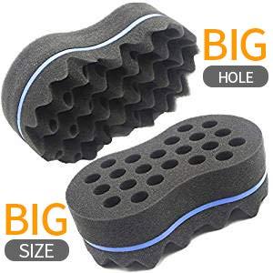 RioRand Magic Barber Sponge Twist Hair Brush for Afros, Coils, Dreadlocks 2 in 1(10&16mm Hole Diameter) (2PCS)