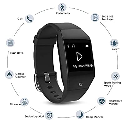 Coffea Fitness Tracker, C8 Activity Tracker Watch with Heart Rate Monitor 5ATM Waterproof Sport Smart Bracelet With Music Player, Flash Drive, Pedometer, Calorie Counter for Android and Ios